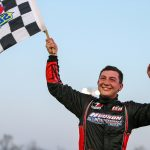 Derek Griffith celebrates after sweeping the Easter Bunny 150 weekend at Hickory Motor Speedway. (Adam Fenwick Photo)