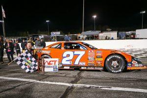 Wayne Helliwell Jr. in victory lane Saturday at Hickory Motor Speedway. (Adam Fenwick Photo)