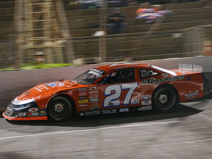 Wayne Helliwell Jr. on his way to victory Saturday at Hickory Motor Speedway. (Adam Fenwick Photo)