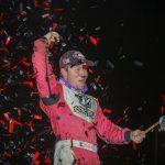 Bobby Pierce in victory lane at Farmer City Raceway. (Brendan Bauman photo)