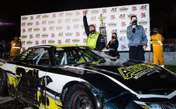 Eric Nascimento Jr. celebrates after a victory Saturday at Madera Speedway. (Jason Wedehase Photo)