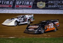 Will Vaught (72) battles Cole Henson in the late model feature Saturday at Lucas Oil Speedway. (GS Stanek Racing Photography)