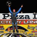 Jonathan Davenport celebrates a $21,000 victory Saturday at Tazewell Speedway. (Michael Moats Photo)