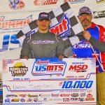 Dustin Sorensen in victory lane Saturday at Hamilton County Speedway. (Tyler Rinken Photo)