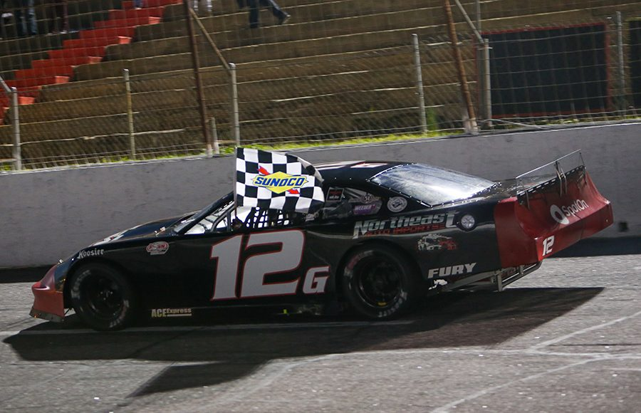 Derek Griffith (12g) celebrates after winning Friday's Easter Bunny 150 make-up race at Hickory Motor Speedway. (Adam Fenwick Photo)