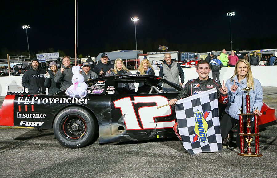 Derek Griffith poses in victory lane with his family and team after winning Friday's Easter Bunny 150 make-up race at Hickory Motor Speedway. (Adam Fenwick Photo)