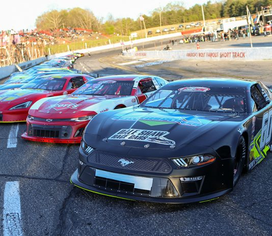 The field for Friday's Easter Bunny 150 make-up race awaits the command at Hickory Motor Speedway. (Adam Fenwick Photo)