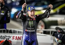 Fabio Quartararo celebrates after winning Sunday's MotoGP event in Qatar. (Yamaha Photo)