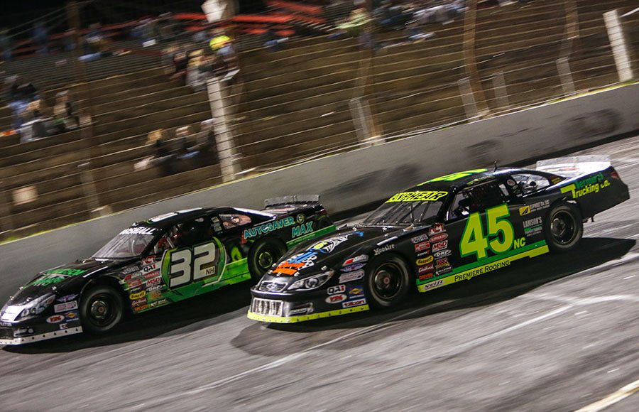 Reilly Lanphear (45) and Jeff Marshall race for position during Friday's American-Canadian Tour event at Hickory Motor Speedway. (Adam Fenwick Photo)