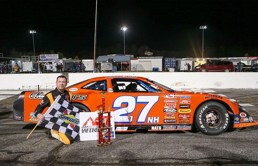 Wayne Helliwell Jr. poses in victory lane after winning Friday's American-Canadian Tour event at Hickory Motor Speedway. (Adam Fenwick Photo)
