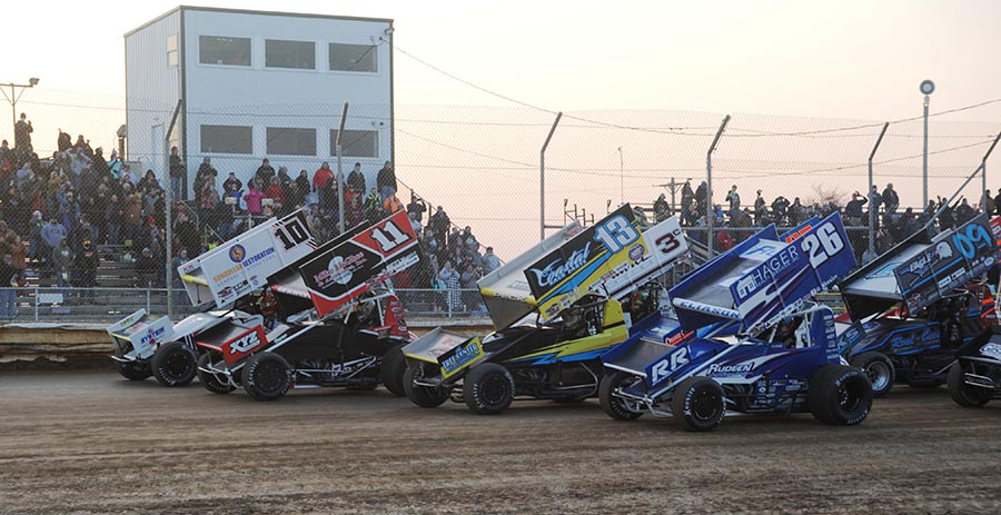 The field for Saturday's All Star Circuit of Champions feature prepares to go racing at Attica Raceway Park. (Julia Johnson Photo)