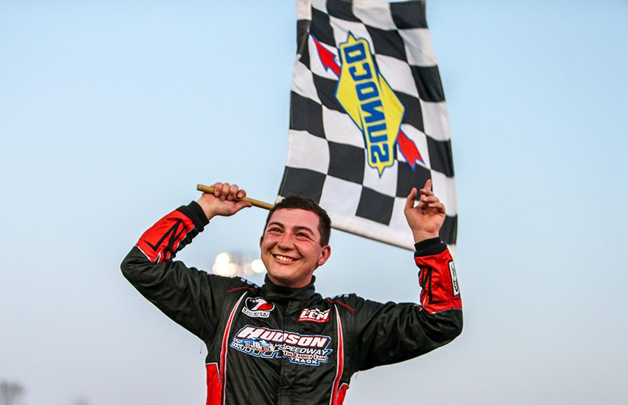Derek Griffith celebrates after his second-straight victory at Hickory Motor Speedway on Saturday. (Adam Fenwick Photo)