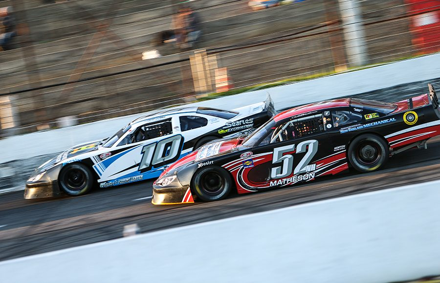 Jake Matheson (52) races under Kate Re Saturday at Hickory Motor Speedway. (Adam Fenwick Photo)