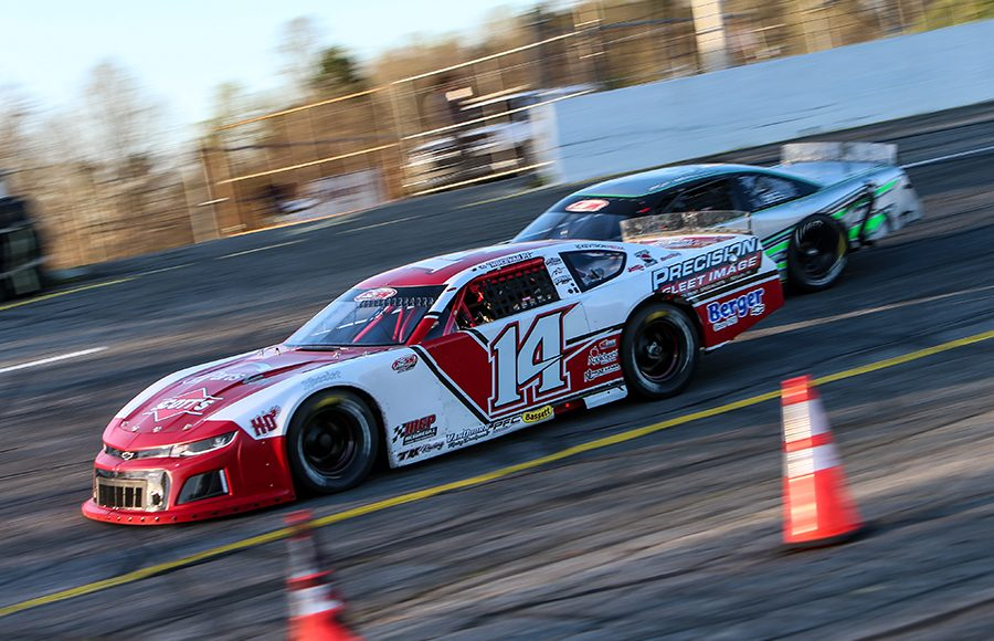 Carson Hocevar (14) leads Trevor Bleau at the start of Saturday's Easter Bunny 150 at Hickory Motor Speedway. (Adam Fenwick Photo)