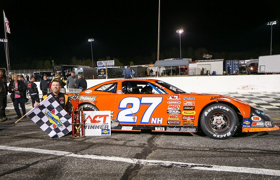 Wayne Helliwell Jr. poses in victory lane after his victory Saturday at Hickory Motor Speedway. (Adam Fenwick Photo)