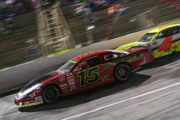 Joey Laquerre (15) races ahead of Ben Rowe during Saturday's American-Canadian Tour race at Hickory Motor Speedway. (Adam Fenwick Photo)
