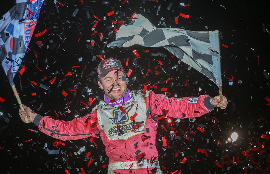 Bobby Pierce celebrates after winning Saturday's Illini 100 at Farmer City Raceway. (Brendon Bauman Photo)
