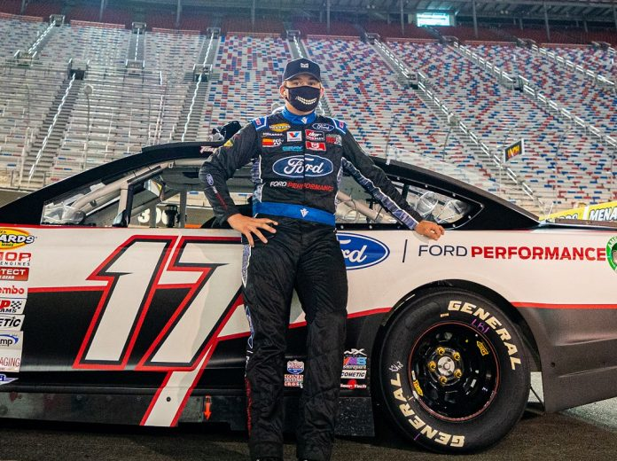 Taylor Gray has undergone surgery for a fractured L4 vertebra following a car accident. (Jacob Kupferman/ARCA Racing)