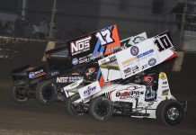 Zeb Wise (10), Sheldon Haudenschild (17) and Jacob Allen race three-wide during Friday's World of Outlaws NOS Energy Drink Sprint Car Series event at Kokomo Speedway. (Frank Smith Photo)