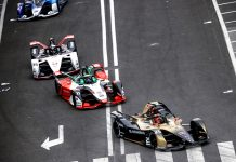 Jean-Eric Vergne leads the Formula E field Saturday in Rome. (Andy Hone / LAT Images)
