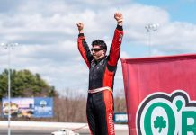 Keith Rocco was the victory in the Sunoco Modified class on Saturday at Thompson Speedway Motorsports Park. (Tom Morris Photo)
