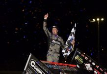 Carson Macedo in victory lane at Tri-State Speedway. (Mark Funderburk photo)