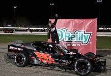Ron Silk pocketed $10,000 for winning the Open Outlaw Modified Series event Saturday at Thompson Speedway Motorsports Park. (Daniel Holben photo)
