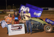 Loyd Clevenger in victory lane at Oklahoma Sports Park. (Joey Perry Photo)