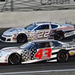 Derek Thorn (43) passes Buddy Shepherd for the race lead during Saturday's SPEARS Southwest Tour feature at Irwindale Speedway. (Steve Himelstein Photo)