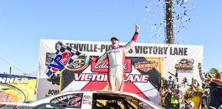 Stephen Nasse celebrates after his victory Sunday at Greenville-Pickens Speedway.