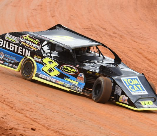 Kyle Strickler banked $10,000 for winning Sunday's UMP Modified feature at Bristol Motor Speedway. (Paul Arch Photo)