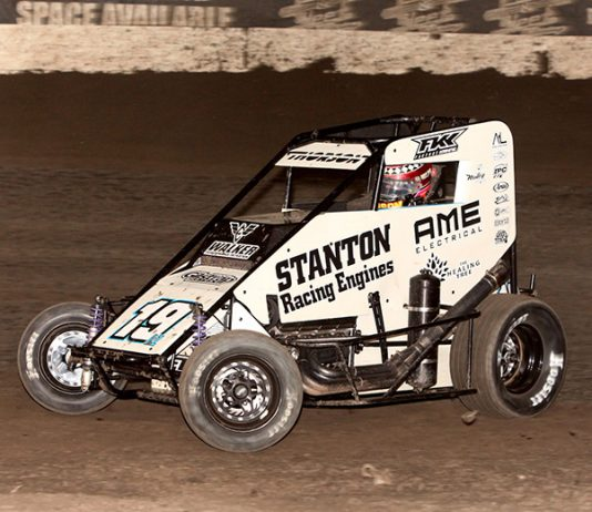 Tanner Thorson on his way to victory Sunday at Port City Raceway. (Richard Bales Photo)