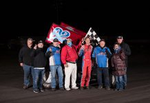 Andy Forsberg in victory lane Sunday night at Petaluma Speedway. (Devin Mayo Photo)