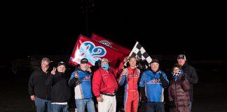 Andy Forsberg in victory lane Sunday night at Petaluma Speedway. (Devin Mayo Photo)