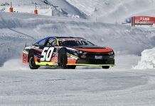 NASCAR Whelen Euro Series organizers Team FJ tested the series' EuroNASCAR cars on the snow at Val Thorens, France, on Friday, March 26. (Patrick Trocelli/NASCAR Whelen Euro Series)