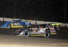 Jordan Yaggy (77) races ahead of Chris Simpson (32) and a third car during Wednesday's Lucas Oil MLRA event at Stuart Int'l Speedway. (Mike Ruefer Photo)