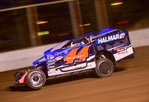 Stewart Friesen on his way to victory Saturday at Fonda Speedway. (Dylan Friebel Photo)