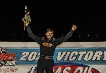 J.C. Morton in victory lane Saturday at Lucas Oil Speedway. (GS Stanek Racing Photography)