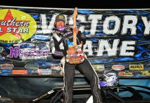 Jensen Ford in victory lane at Smoky Mountain Speedway. (Michael Moats photo)