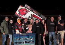 Justin Sanders in victory lane Saturday at Placerville Speedway. (Devin Mayo Photo)