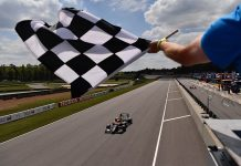 David Malukas takes the checkered flag Saturday at Barber Motorsports Park. (Gavin Baker Photo)