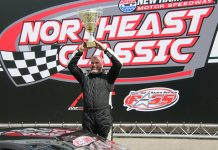 Johnny Clark celebrates after his PASS super late model win at New Hampshire Motor Speedway on Sunday. (Alan Ward Photo)