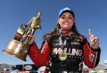 Erica Enders earned her first victory of the year Sunday at The Strip at Las Vegas Motor Speedway. (NHRA Photo)