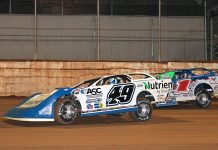 Jonathan Davenport (49) battles Brandon Sheppard Sunday night at Port Royal Speedway. (Dan Demarco Photo)