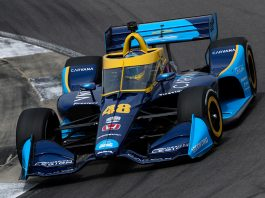 Jimmie Johnson was happy with a 19th-place finish in Sunday's NTT IndyCar Series opener. (IndyCar Photo)