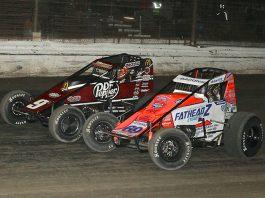 Brady Bacon (69) races alongside Kevin Thomas Jr. Thursday at Grandview Speedway. (Dan Demarco Photo)