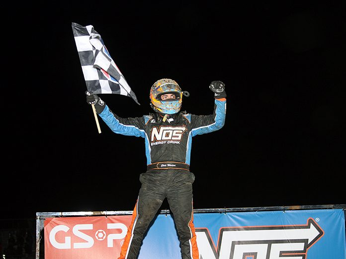 Chris Windom celebrates after winning Saturday's Kokomo Grand Prix finale at Kokomo Speedway. (Jim Denhamer Photo)