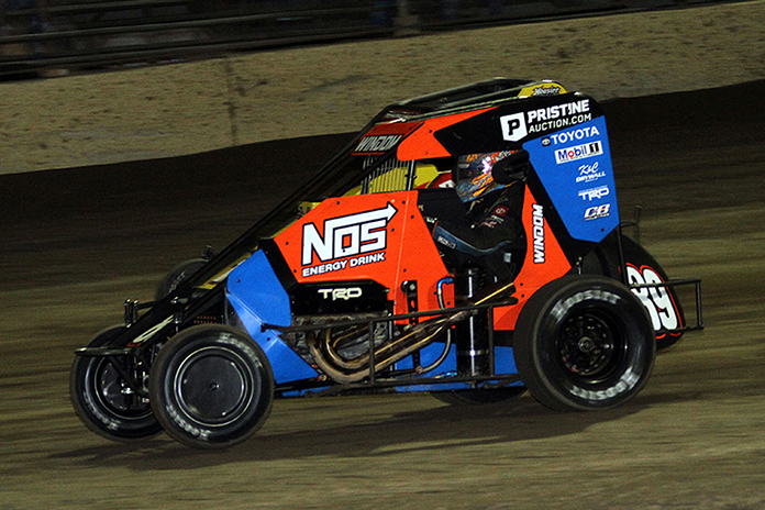 Chris Windom in action Saturday at Kokomo Speedway. (Jim Denhamer Photo)