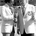"Chris Economaki and ""Wide World of Sports"" colleague Al Michaels"