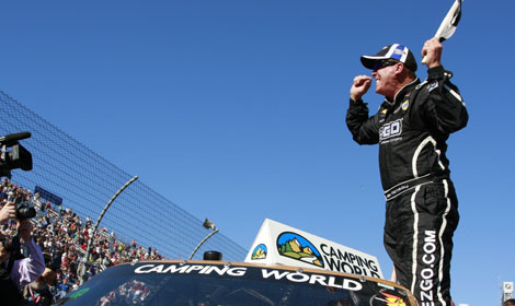 FINALLY: Ron Hornaday, Jr. celebrates his win in Saturday's NASCAR Camping World Truck Series Kroger 200 at Martinsville (Va.) Speedway. (HHP/Christa L. Thomas Photo)